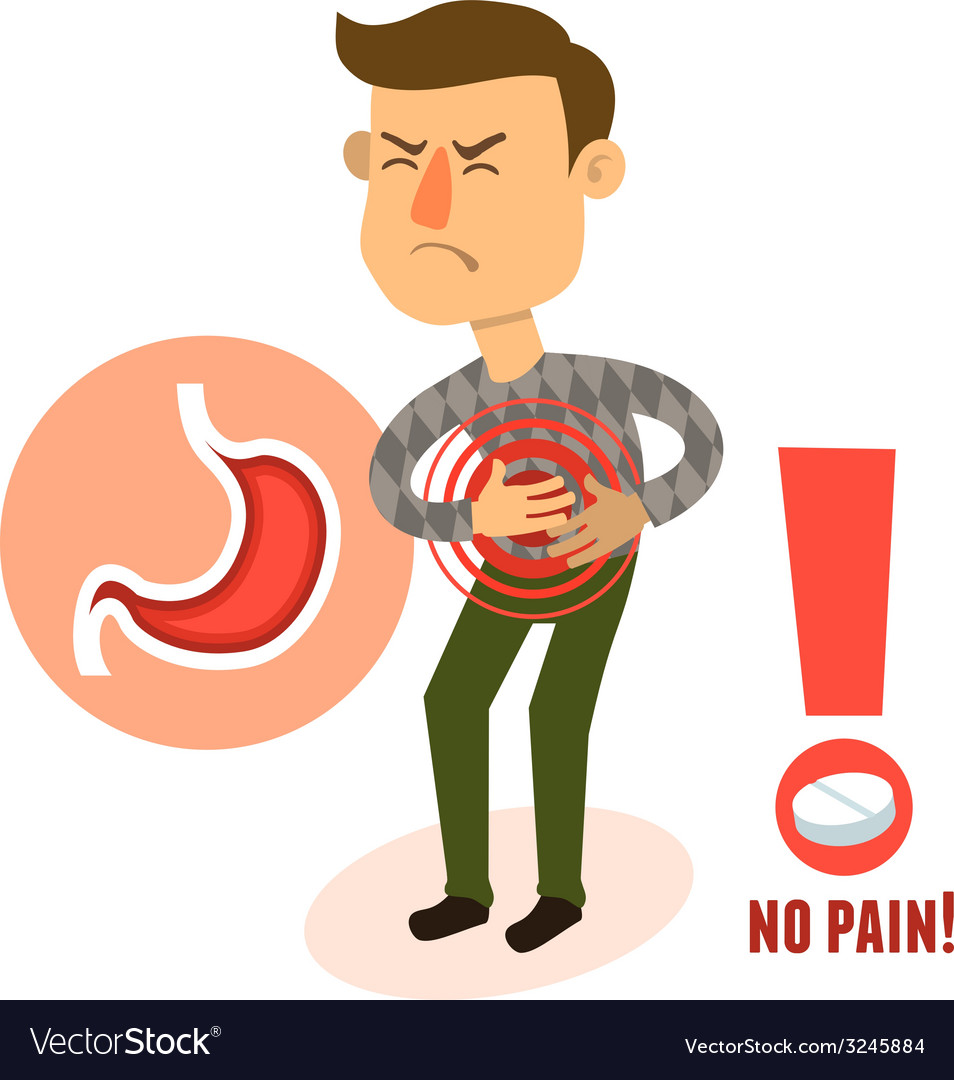 Sick character stomach ache vector | Price: 1 Credit (USD $1)