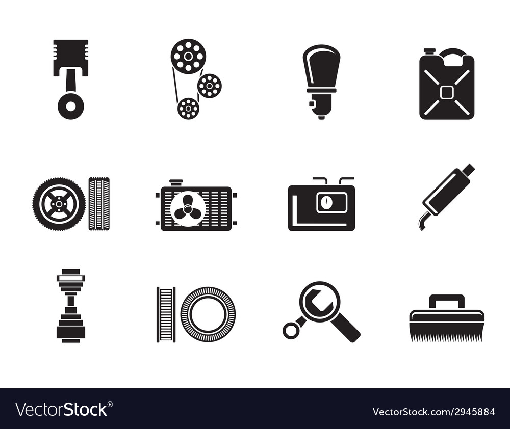 Silhouette car parts and services vector | Price: 1 Credit (USD $1)