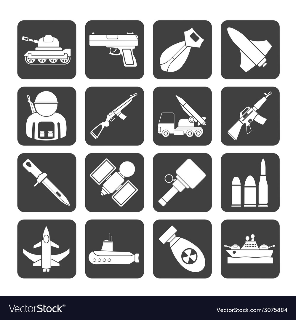 Silhouette weapon and arms icons vector | Price: 1 Credit (USD $1)