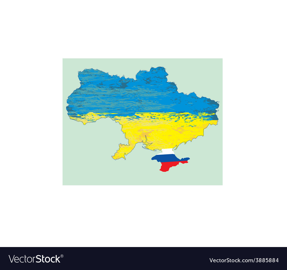 Ukraine map russia in crimea vector | Price: 1 Credit (USD $1)