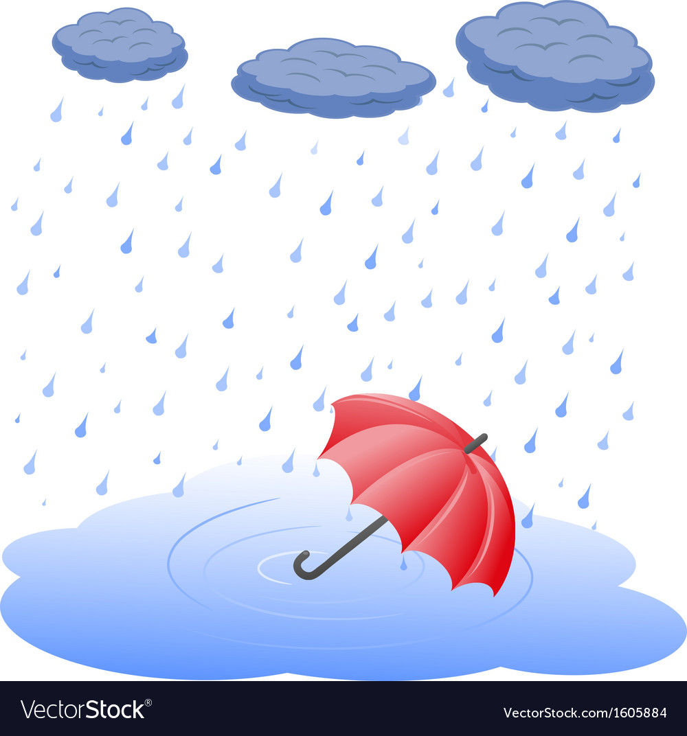 Umbrella in puddle in rain vector | Price: 1 Credit (USD $1)