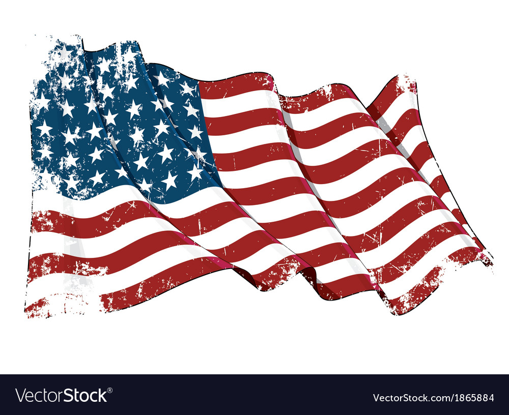 Us flag wwi wwii 48 stars grunge vector | Price: 1 Credit (USD $1)