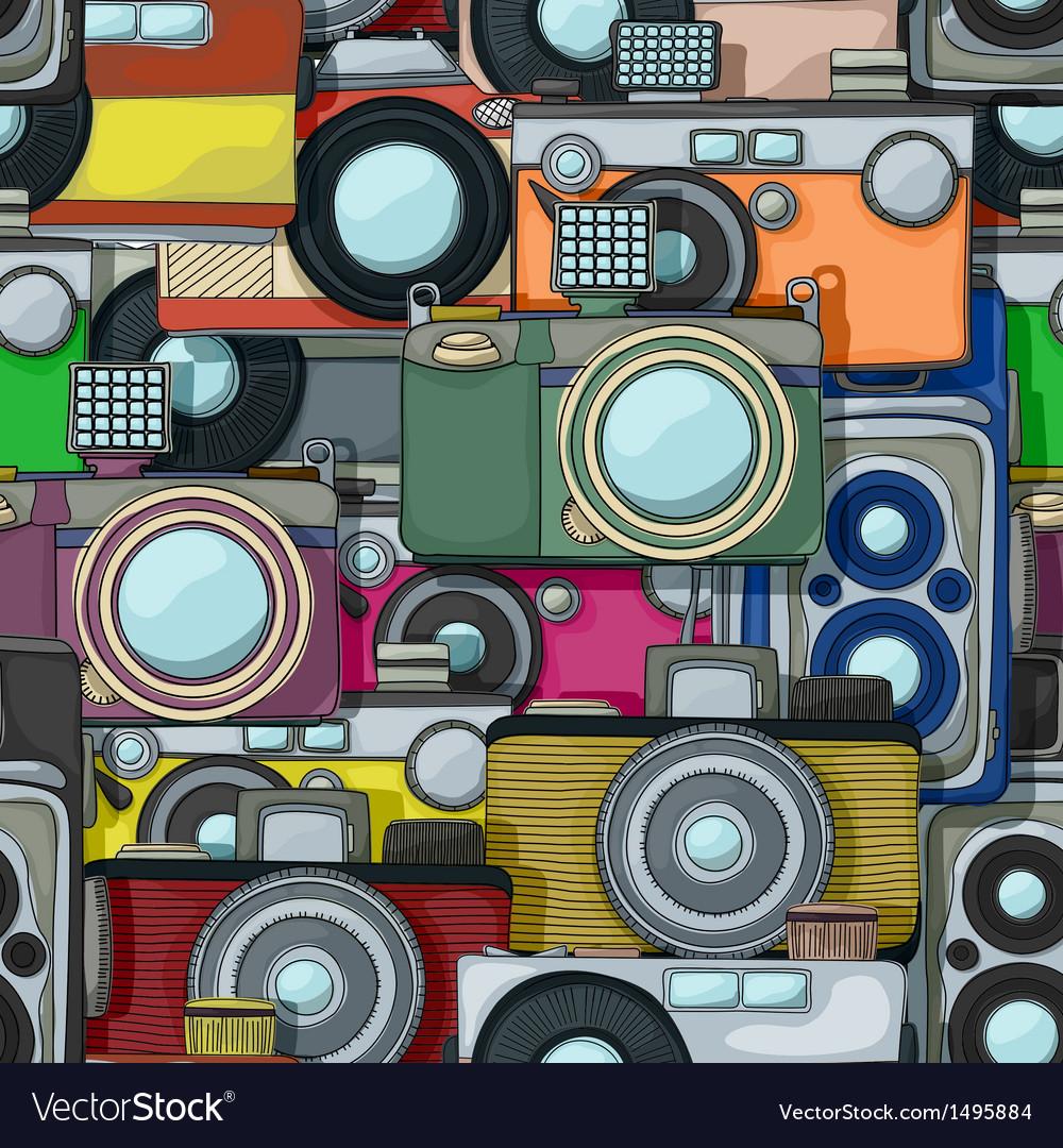 Vintage camera pattern vector | Price: 1 Credit (USD $1)