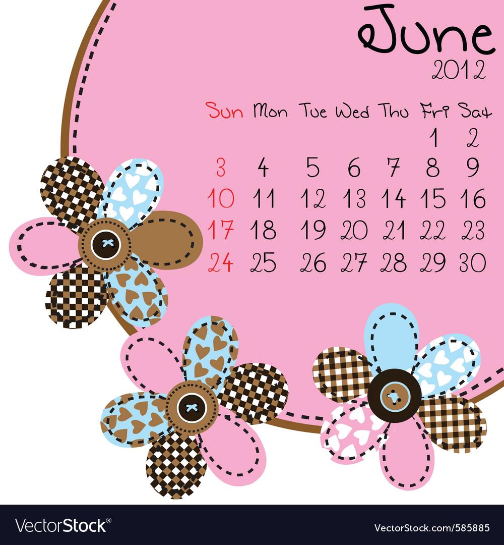 2012 june calendar vector | Price: 1 Credit (USD $1)