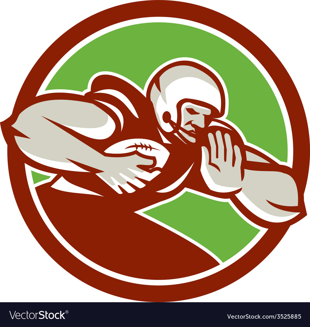 American football player rushing fending circle vector | Price: 1 Credit (USD $1)