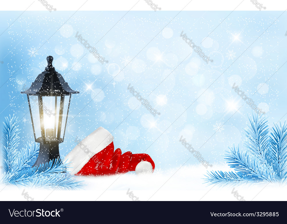 Christmas background with a lantern and a santa vector | Price: 1 Credit (USD $1)