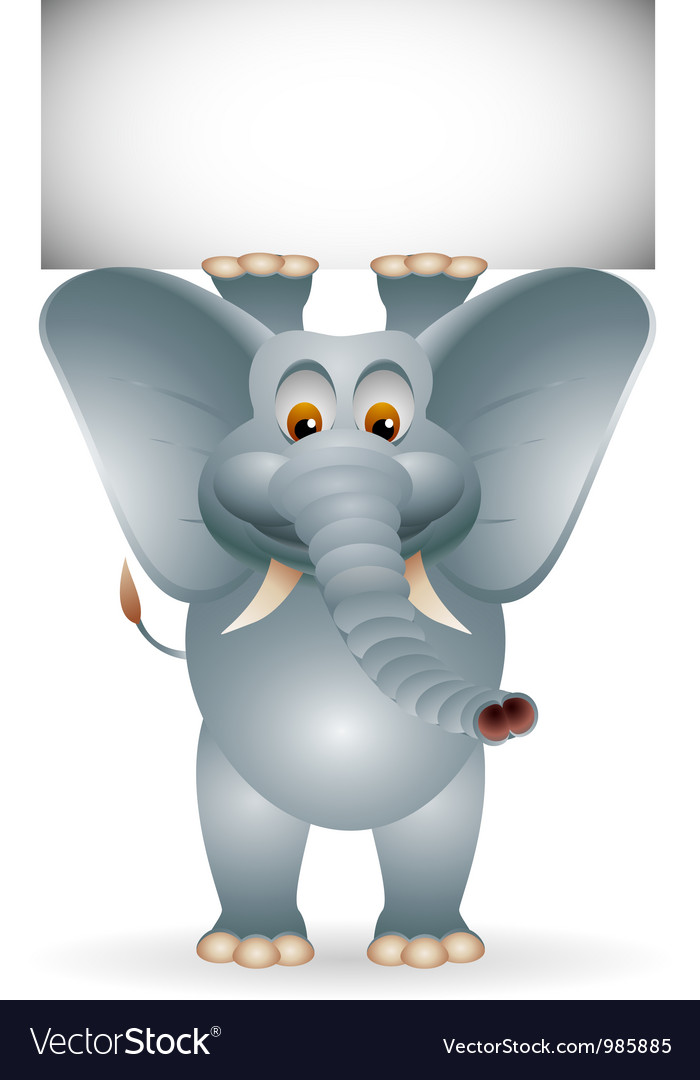 Funny elephant cartoon with blank sign vector | Price: 1 Credit (USD $1)