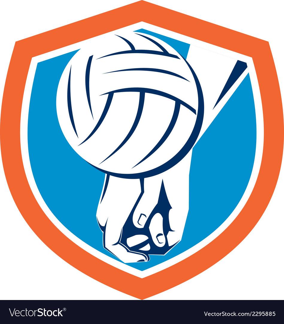 Hand hitting volleyball ball shield retro vector   Price: 1 Credit (USD $1)