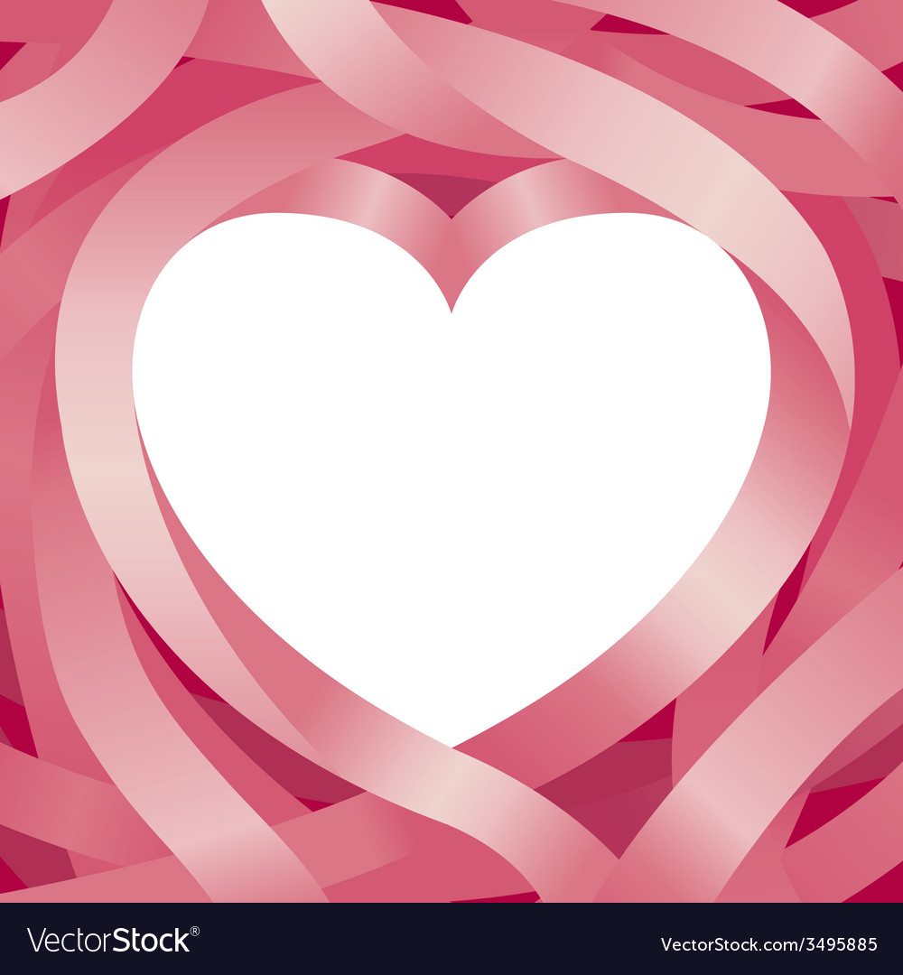 Heart shape and ribbon background vector | Price: 1 Credit (USD $1)