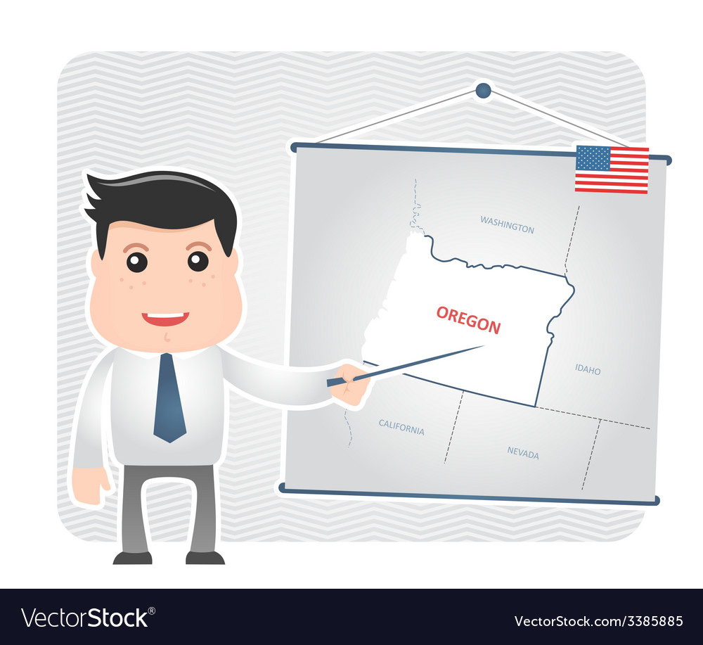 Man with a pointer points to a map of oregon vector | Price: 1 Credit (USD $1)