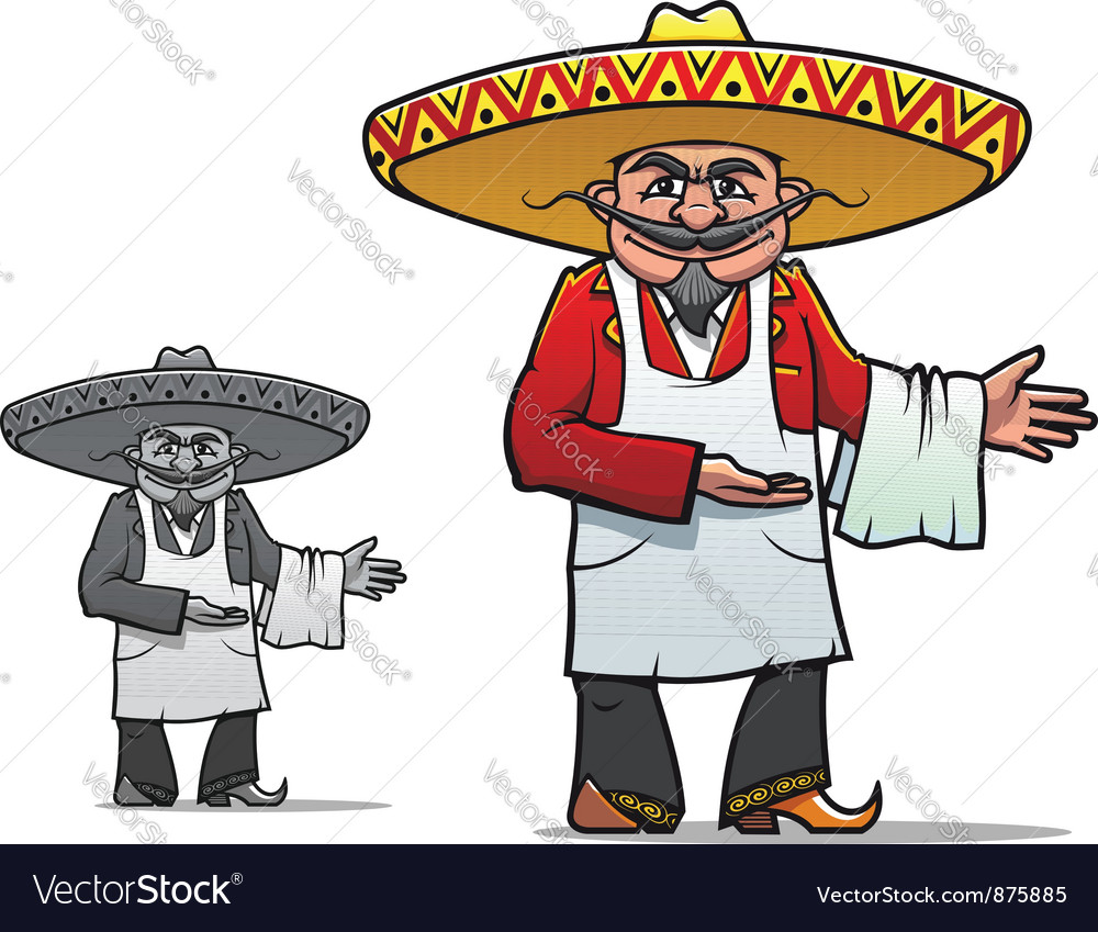 Mexican chef in sombrero vector | Price: 1 Credit (USD $1)