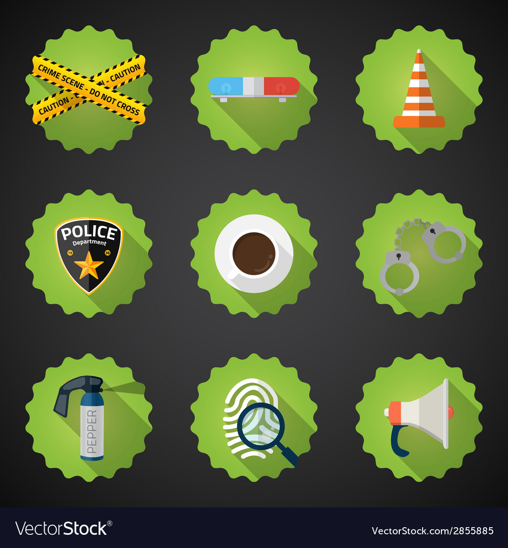 Police sequrity flat icon set include road cone vector | Price: 1 Credit (USD $1)