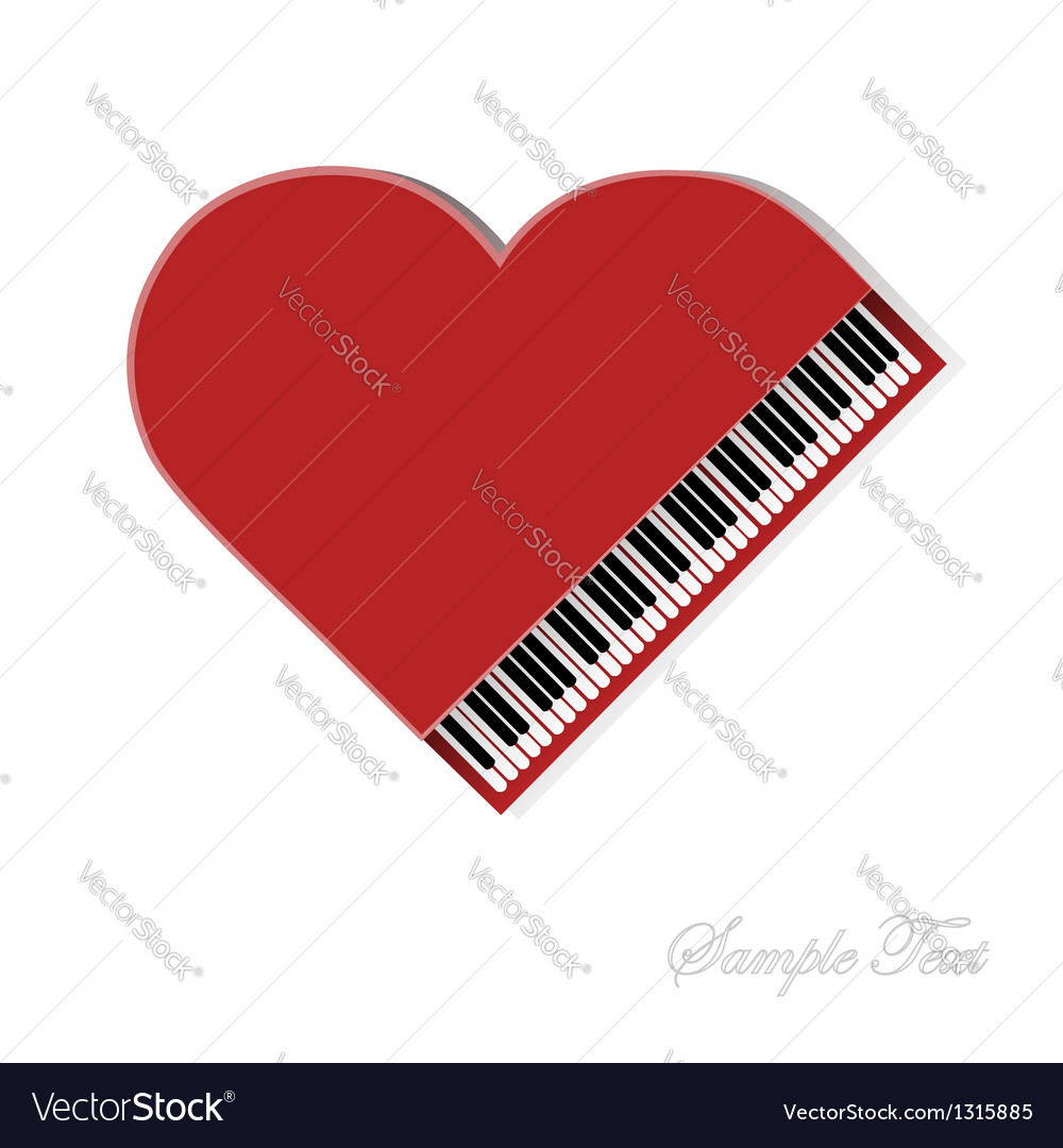 Red piano on white background vector | Price: 1 Credit (USD $1)