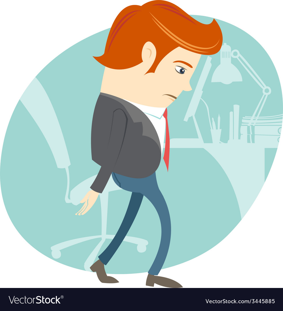 Sad office man in front of his working place vector | Price: 1 Credit (USD $1)
