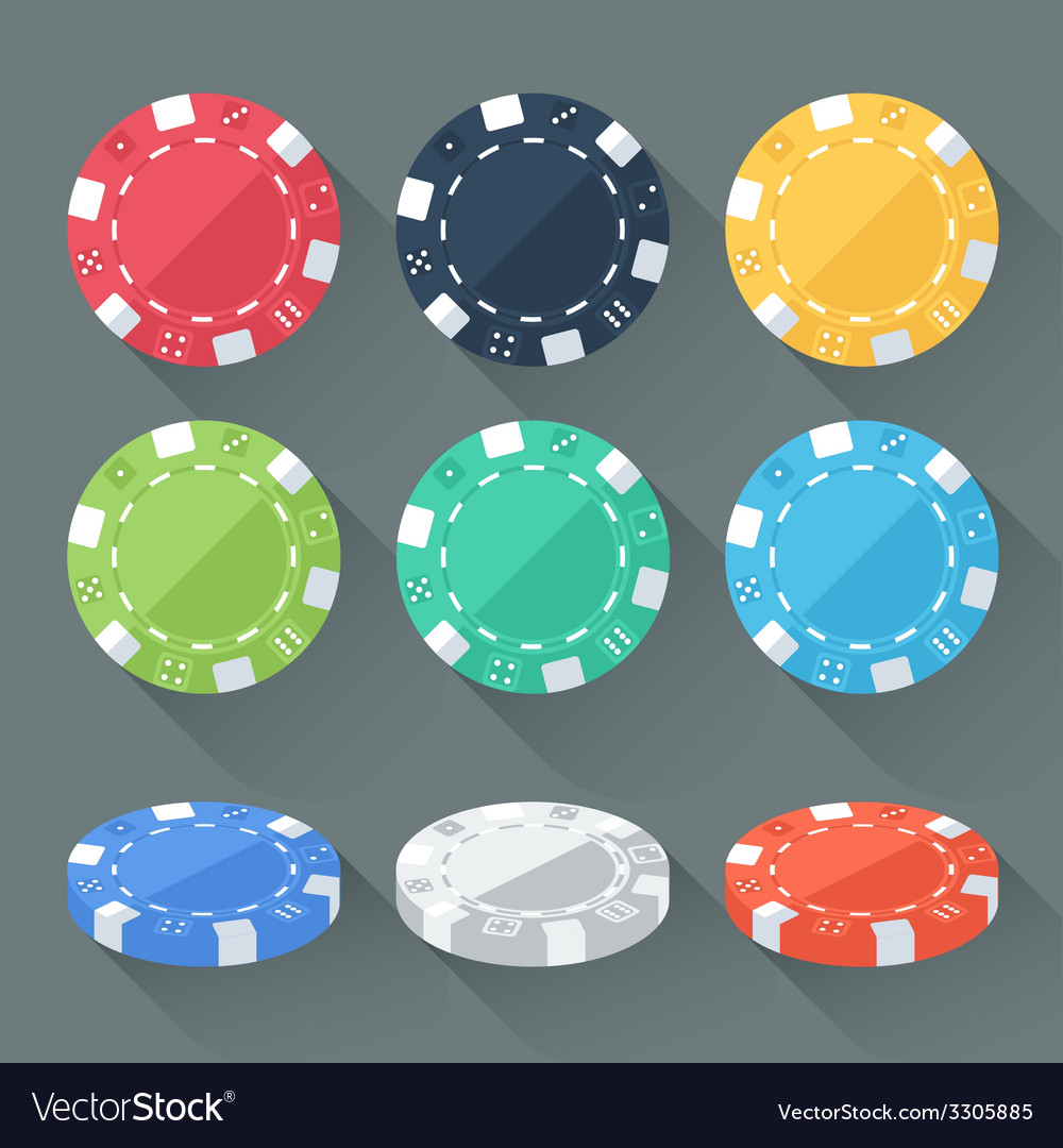 Set of colorful gambling chips casino tokens vector   Price: 1 Credit (USD $1)
