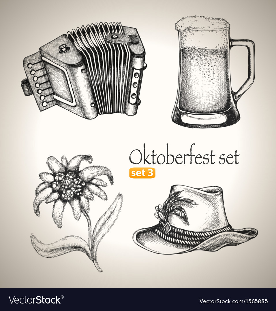 Sketch elements for oktoberfest festival vector | Price: 1 Credit (USD $1)