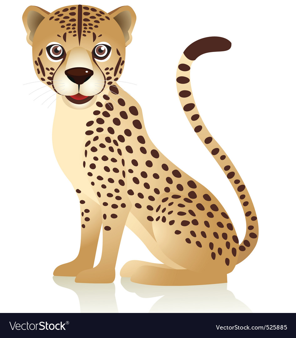 Smiling cheetah cartoon vector | Price: 1 Credit (USD $1)