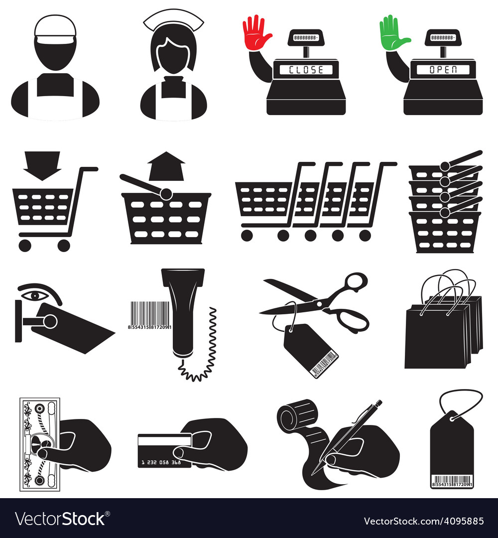 Supermarket icon set vector | Price: 1 Credit (USD $1)