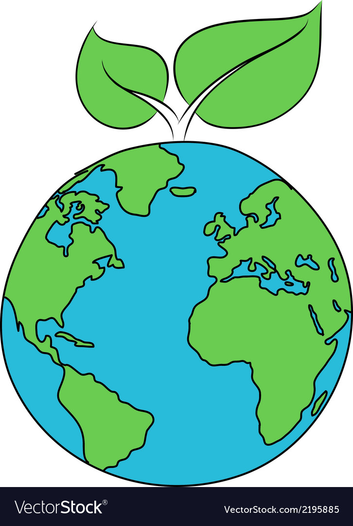 World globe with green leaves vector | Price: 1 Credit (USD $1)