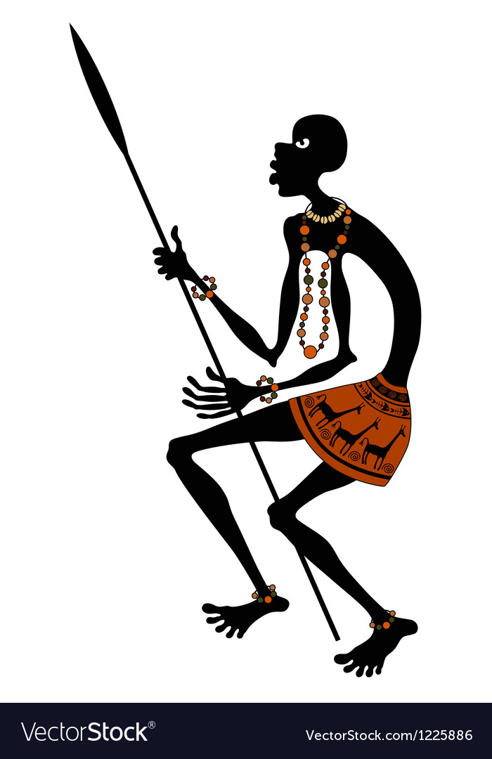 African warrior with spear vector | Price: 1 Credit (USD $1)