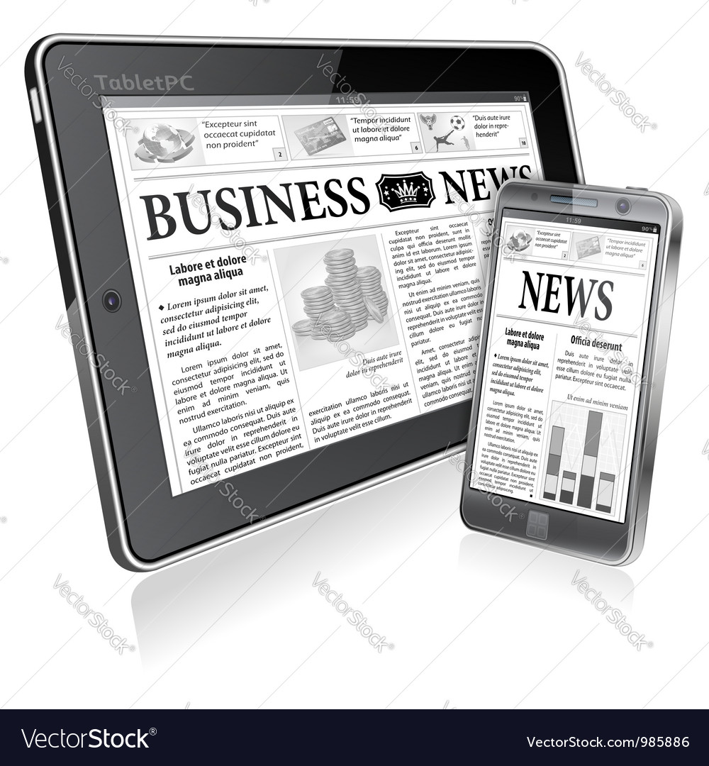 Concept - digital news tablet pc and smartphone vector | Price: 3 Credit (USD $3)