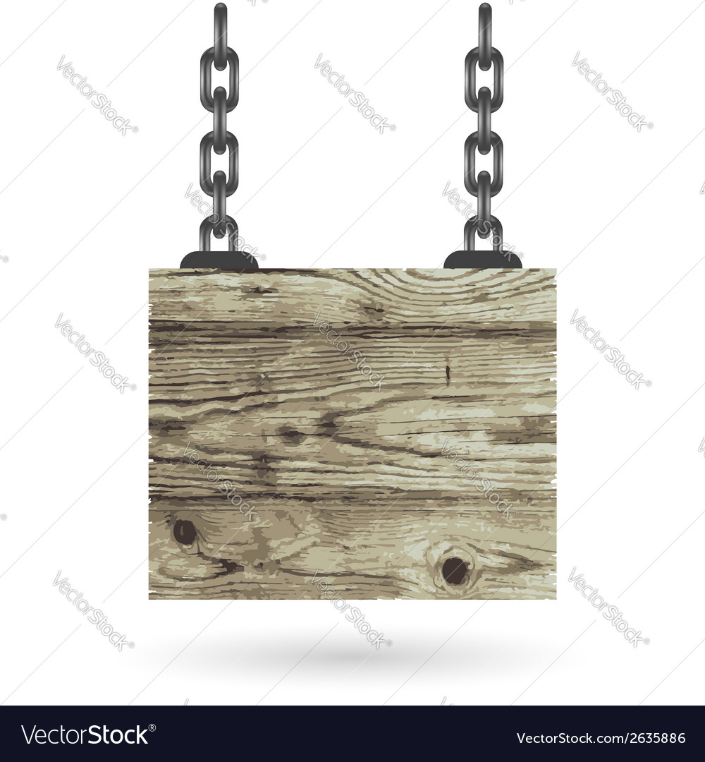 Old color wooden board with chain vector | Price: 1 Credit (USD $1)