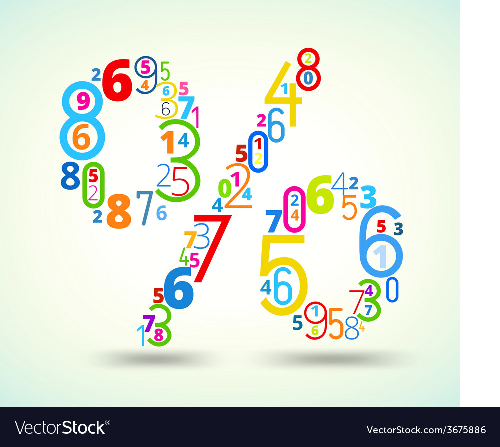 Percent sign colored font from numbers vector   Price: 1 Credit (USD $1)