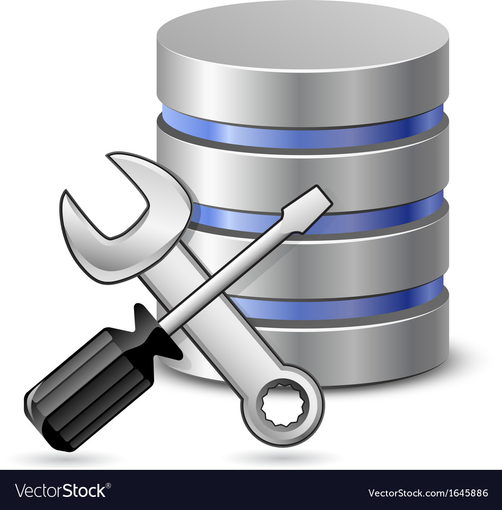 Screwdriver spanner and database icon vector