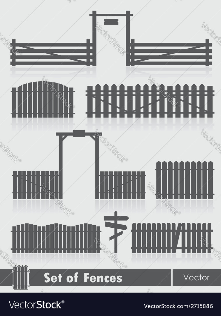 Set of black fences with gate vector | Price: 1 Credit (USD $1)