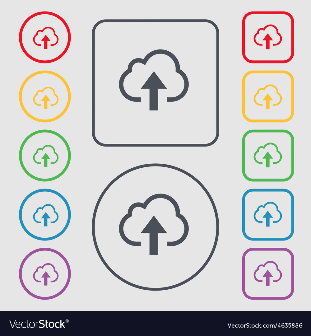 Upload from cloud icon sign symbol on the round vector   Price: 1 Credit (USD $1)
