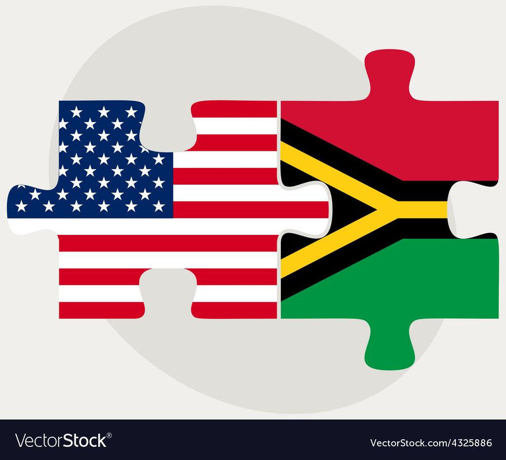Usa and vanuatu flags in puzzle vector | Price: 1 Credit (USD $1)