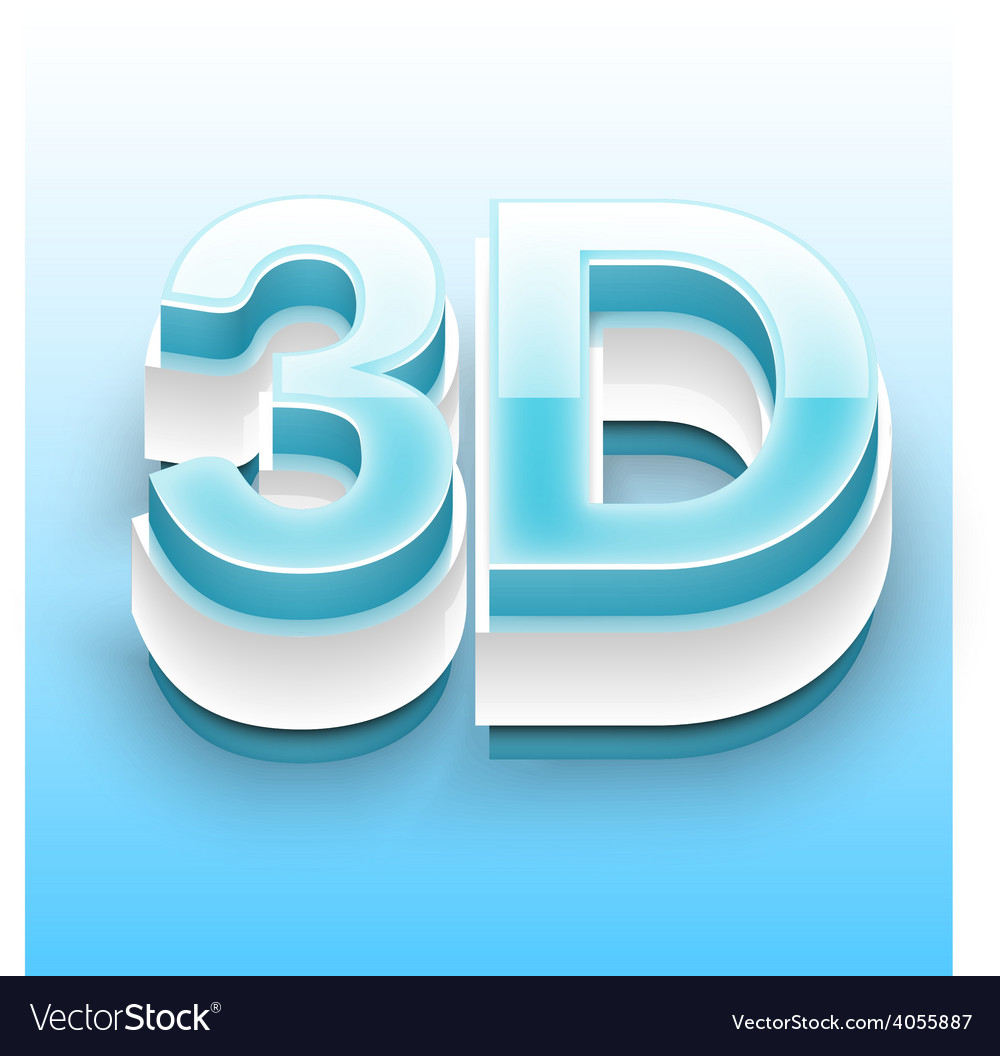 3d text with blue and white bevel 01 vector | Price: 3 Credit (USD $3)