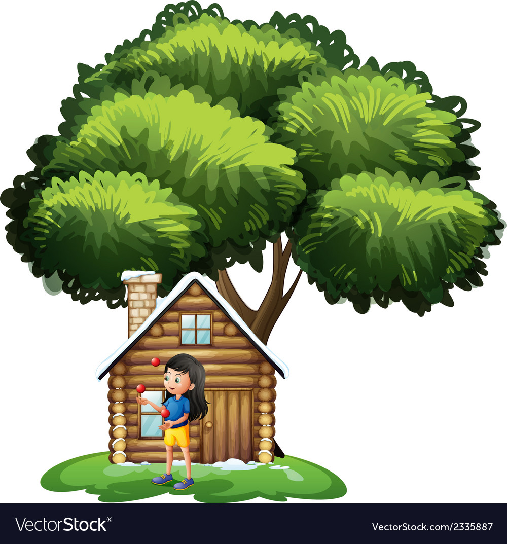 A young girl playing outside the house vector | Price: 3 Credit (USD $3)