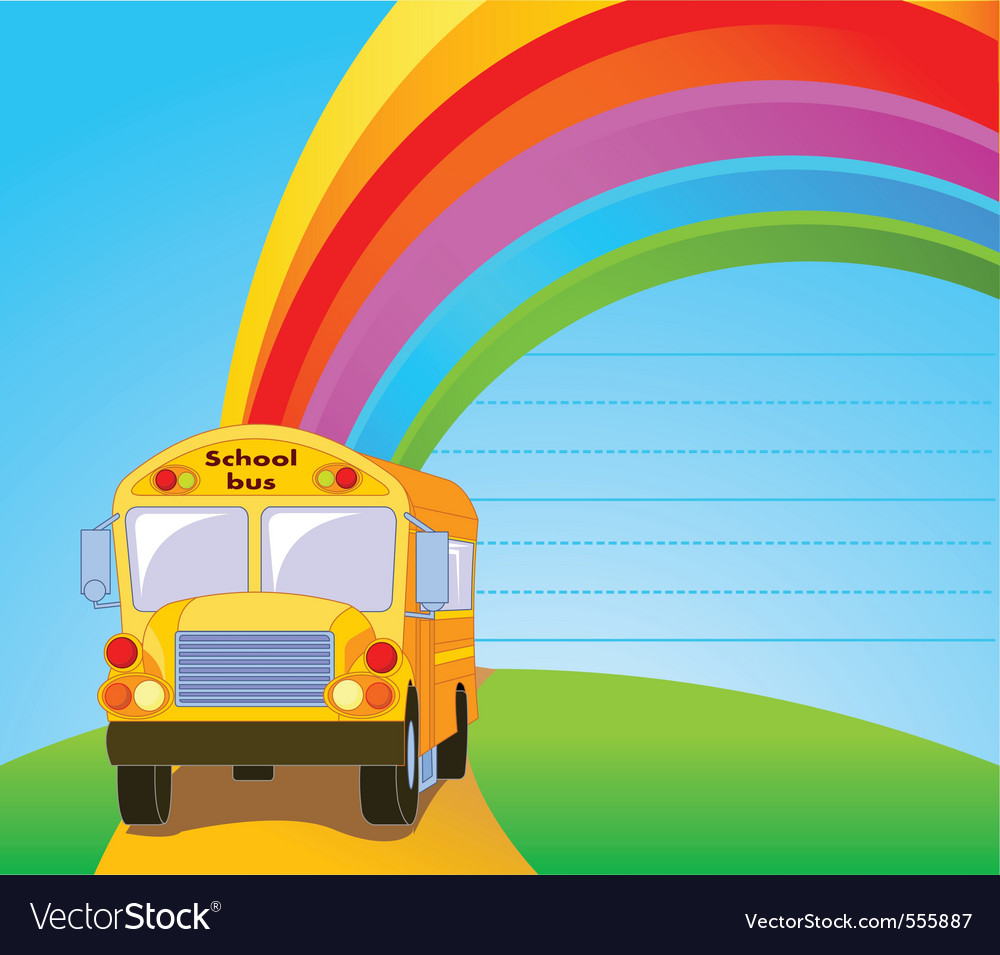 Back to school yellow school bus background vector | Price: 1 Credit (USD $1)