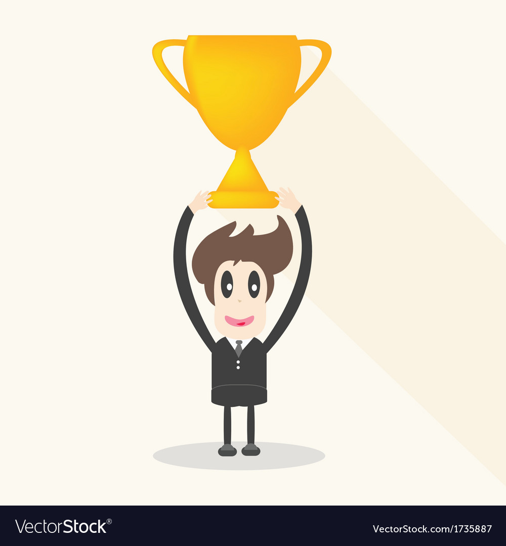 Businessman holding winning trophy long shadow vector | Price: 1 Credit (USD $1)