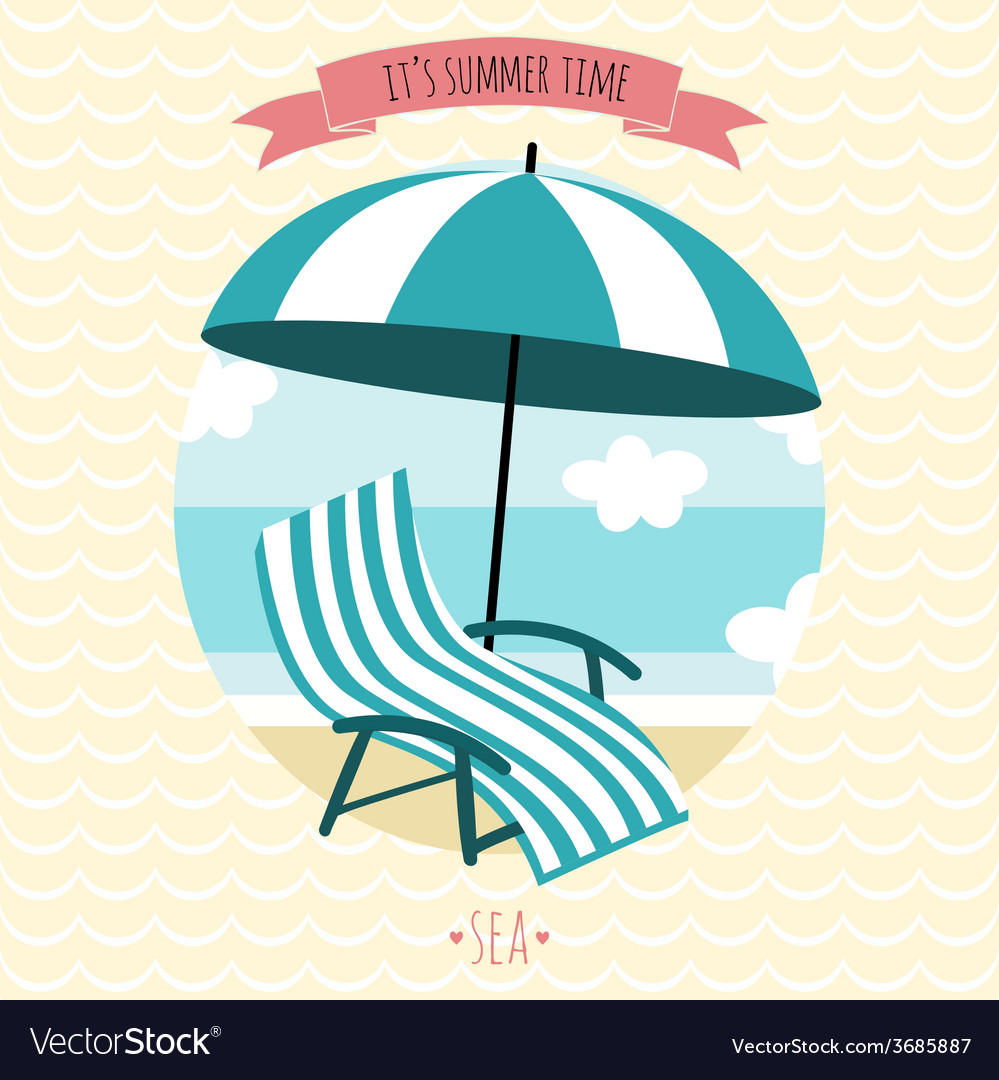 Card with beach armchair and umbrella summer time vector | Price: 1 Credit (USD $1)
