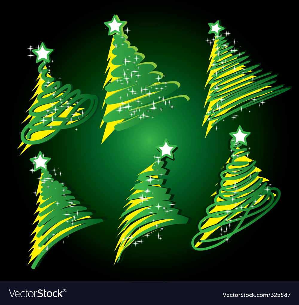 Christmas tree sketch set vector | Price: 1 Credit (USD $1)