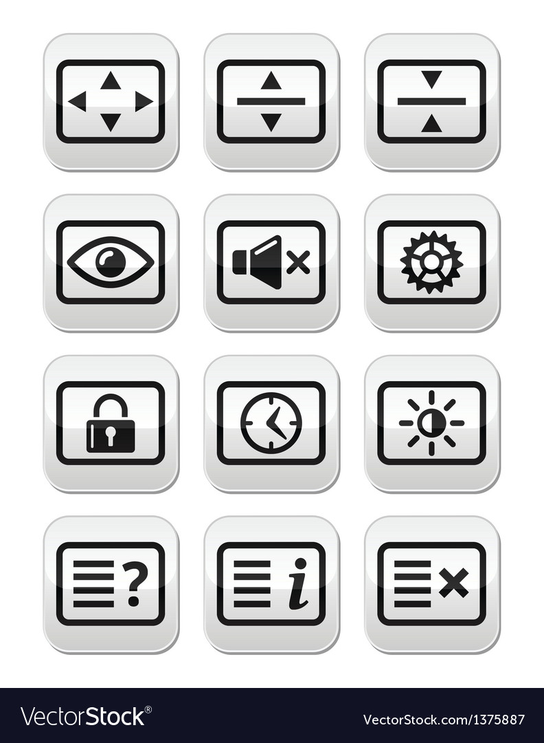 Computer tv monitor screen buttons set vector | Price: 1 Credit (USD $1)