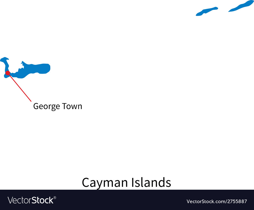 Detailed map of cayman islands and capital city vector | Price: 1 Credit (USD $1)