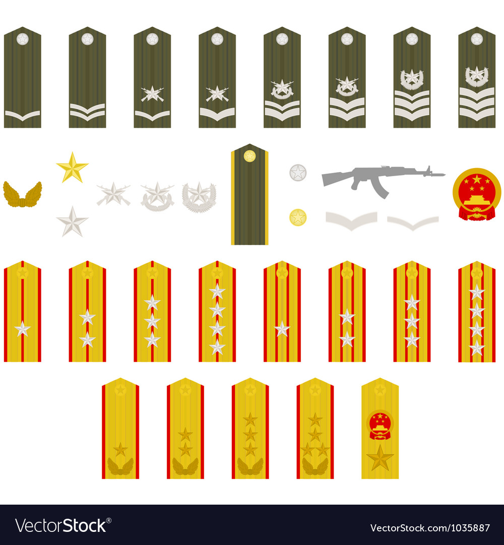 Epaulets chinese army vector   Price: 1 Credit (USD $1)