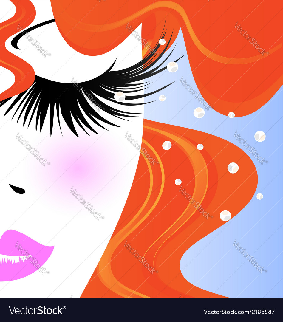 Face of redhaired girl vector