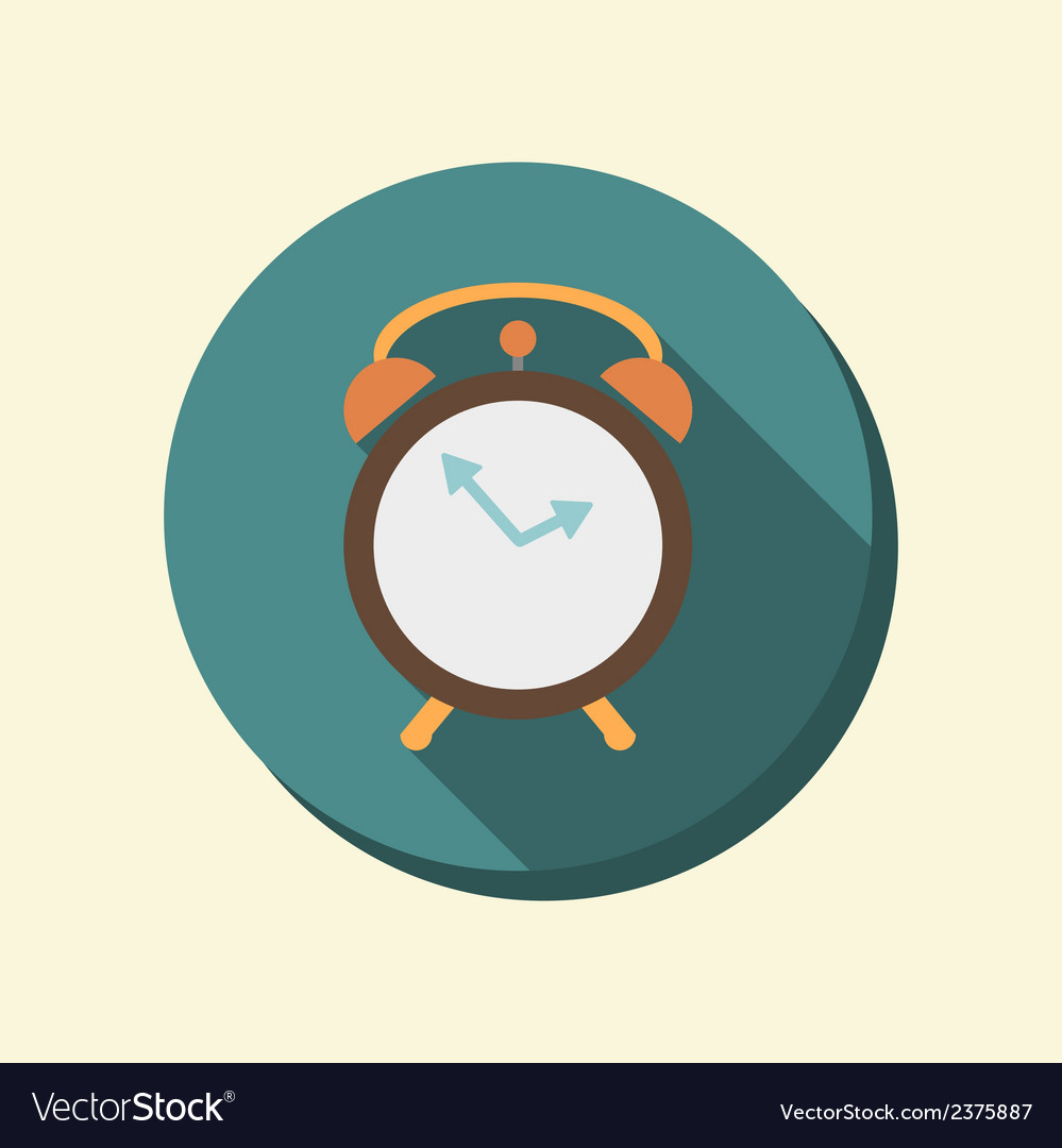 Flat circle web icon alarm clock vector | Price: 1 Credit (USD $1)