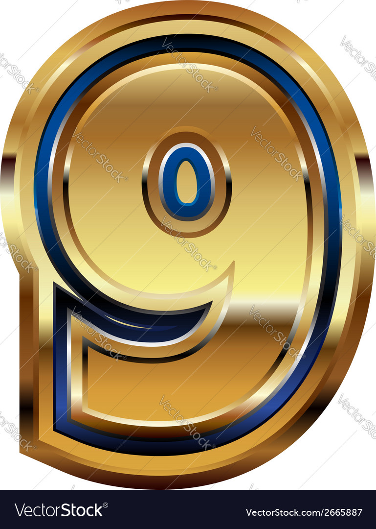 Golden number 9 vector | Price: 1 Credit (USD $1)