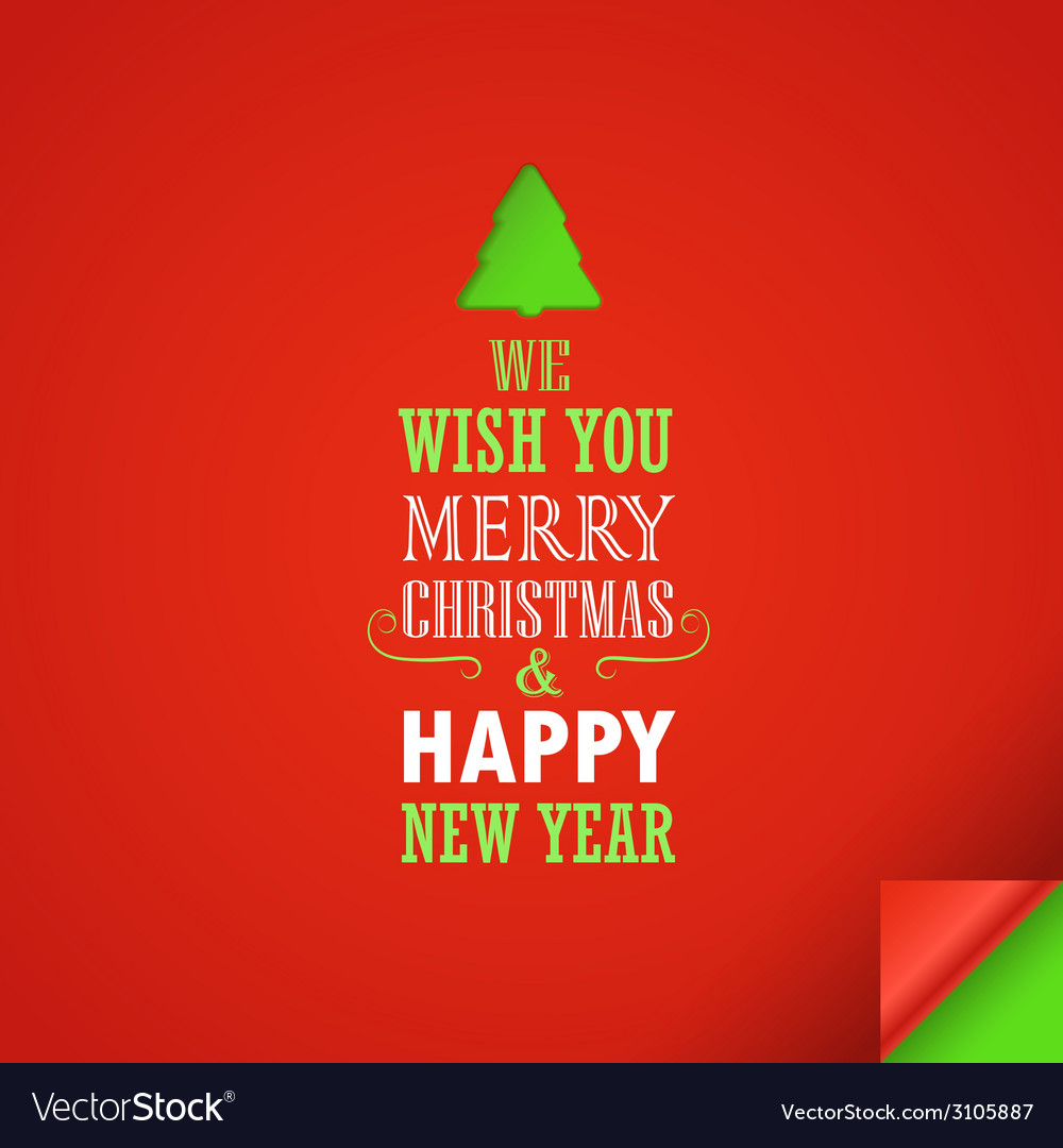 Merry christmas and a happy new year greeting card vector | Price: 1 Credit (USD $1)