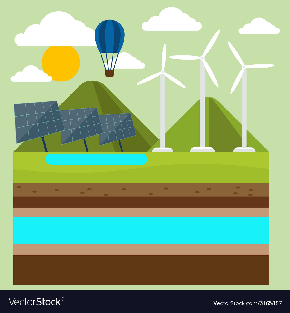 Renewable energy like hydro solar and wind power vector   Price: 1 Credit (USD $1)
