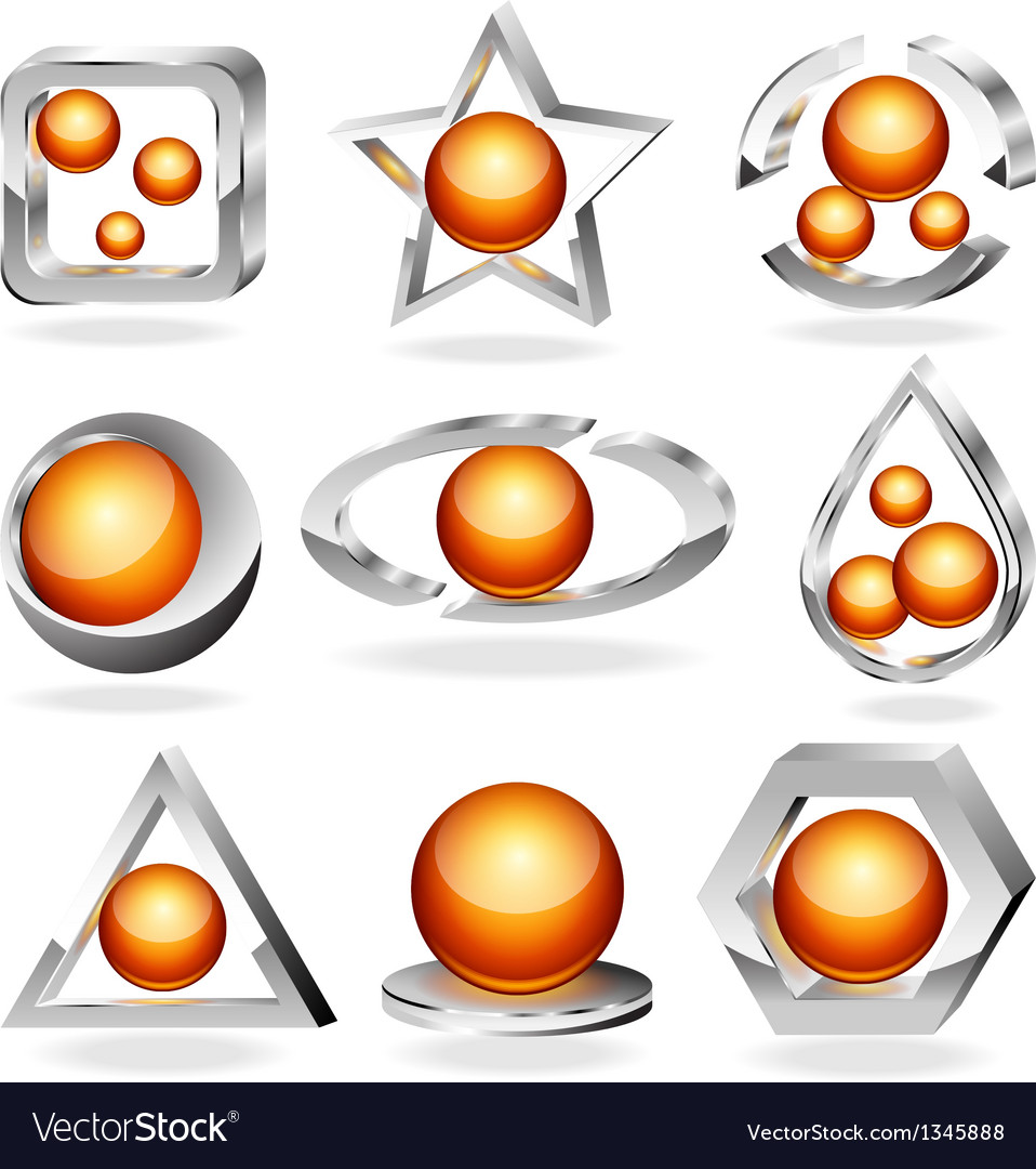 3d business abstract icons set vector | Price: 1 Credit (USD $1)