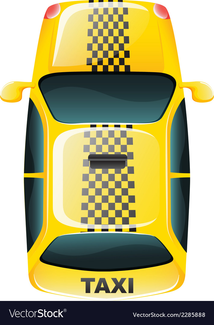 A topview of a yellow taxi cab vector | Price: 1 Credit (USD $1)