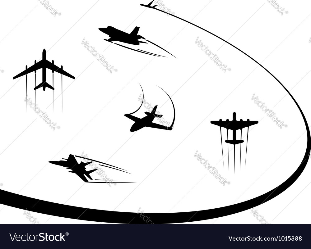 Airplanes and jets symbols for any flight design vector | Price: 1 Credit (USD $1)