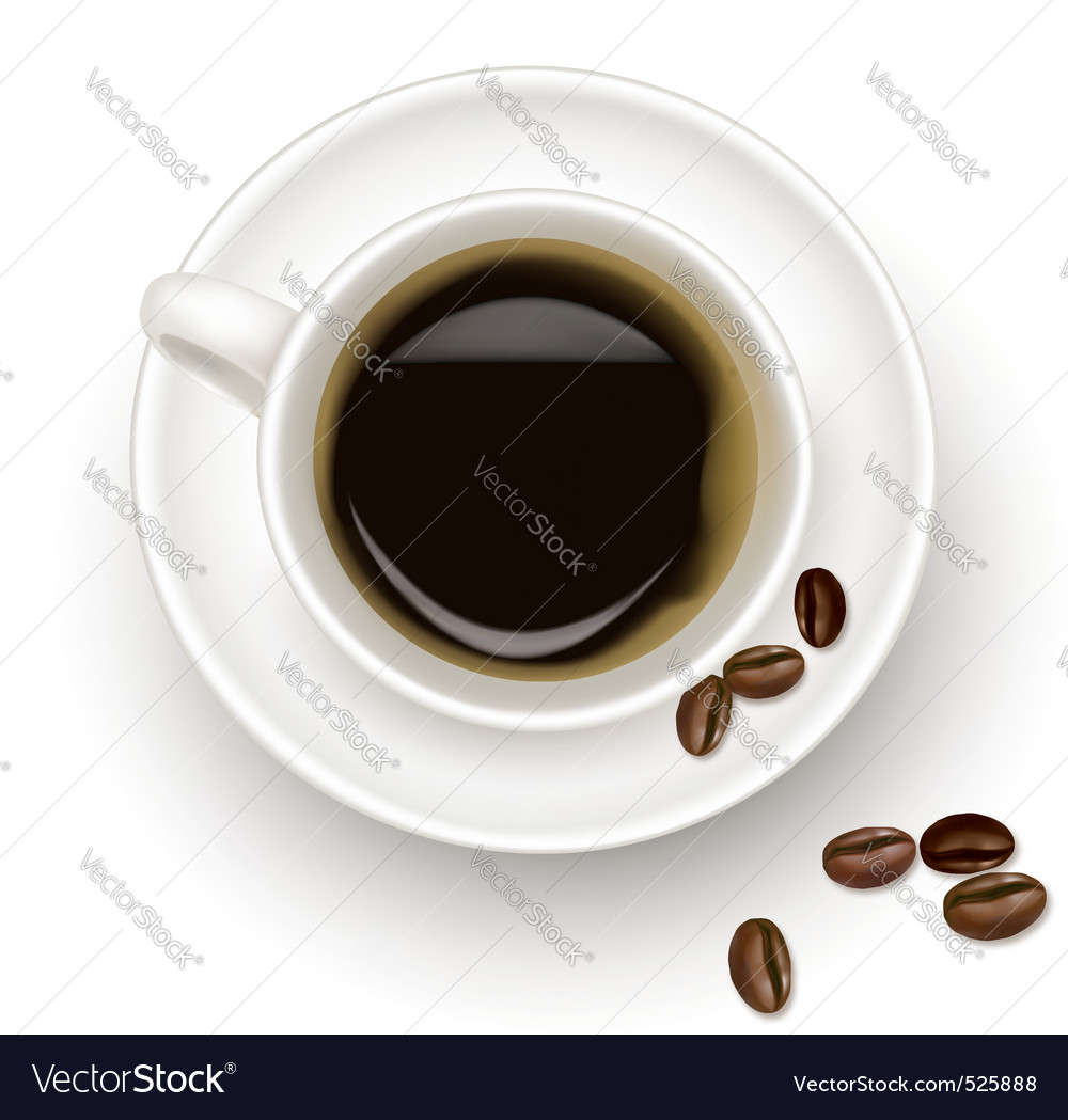 Black coffee cup and beans vector | Price: 1 Credit (USD $1)