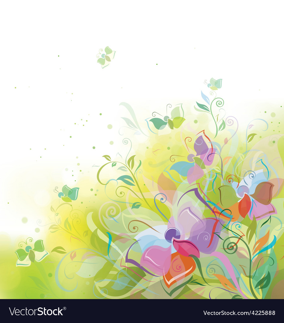 Butterfly spring background vector | Price: 1 Credit (USD $1)